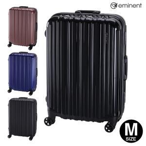 スーツケース 中型 Mサイズ TSAロック 4輪 トランク キャリーケース EMINENT フレームハード 旅行かばん 内装フラット TSAロック搭載 ブラック|kyowa-bag
