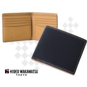 財布 メンズ 二つ折り HIDEO WAKAMATSU コードバン二つ折り財布'ボンド'小銭入れなし ブラック