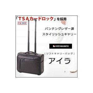 キャリーバッグ TSAカードロック ブラック 機内持ち込み 小型 Sサイズ 2輪横型 キャリーケース ソフトキャリー HIDEO WAKAMATSU パンチングレザー風 アイラ|kyowa-bag