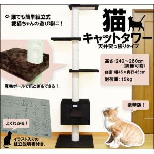 キャットタワー BB 突張り式 猫タワー 猫の遊具 おしゃれ ブラウン|kyplaza634s