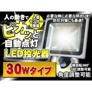 人感 センサー LED投光器 人感知 30W 300W相当 防水加工 3mコード付|kyplaza634s