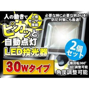 人感 センサー LED投光器 人感知 30W 300W相当 防水加工 3mコード付 2台セット|kyplaza634s