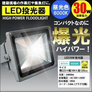 LED投光器 30W 300W相当 昼光色 6000K AC 明るい 防水加工 3mコード付|kyplaza634s