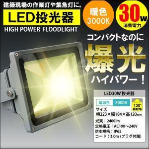 LED投光器 30W 300W相当 暖色・電球色 3000K AC 明るい 防水加工 3mコード付|kyplaza634s