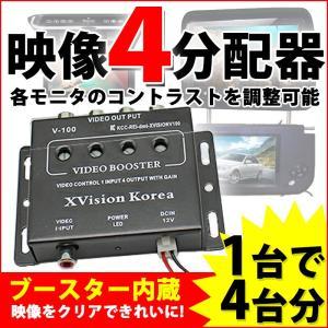 映像分配器 ビデオブースター 4分配 ブースター機能/コントラスト調整可能 DC12V
