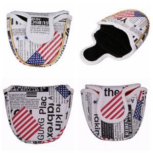 パターカバー ヘッドカバー オデッセイ 2ボールに対応 マレット用 アメリカフラグ