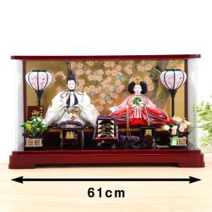 ひな人形 ケース雛 京三五 絢白銀 パノラマ桜華 親王ケース飾 kyuhodo