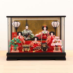 雛人形 ひな人形 ケース 芥子 正絹グリーンパノラマ 五人ケース飾 kyuhodo