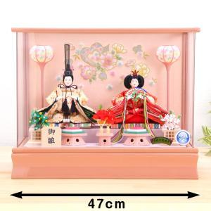 【ご優待割引価格】ひな人形 ケース雛 京三五 桜刺繍 パールピンク アクリルケース飾 kyuhodo