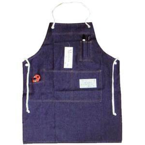 デニムエプロンtokem251(胸付きロープ紐)フリーサイズ85cm丈 kyuta-shop