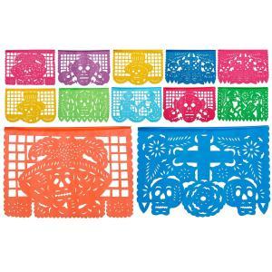 メキシコ死者の日 カラフルプラスチックパネル (12枚|約4.8メートル以上) パペル・ピカード「デ...
