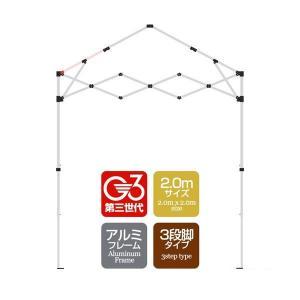 タープテント専用パーツ 屋根柱/下部  アルミフレーム 2.0mサイズ 3段脚タイプ G3第3世代|l-design