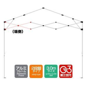 タープテント専用パーツ クロス柱/端側  アルミフレーム 3.0mサイズ 2段脚タイプ G3第3世代|l-design