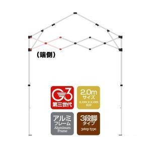 タープテント専用パーツ クロス柱/端側  アルミフレーム 2.0mサイズ 3段脚タイプ G3第3世代|l-design