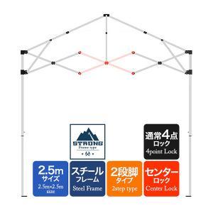 テント用補修パーツ タープテント 強化版スチール 2.5m用 クロスバー センタークロス 中側[X][屋根 クロス 柱 交換 修理 部品]  強化フレーム 2段脚タイプ|l-design