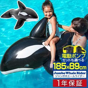 フロート 浮き輪 うきわ くじら型フロート ジャンボ ホエールライダー 大型 電動ポンプ 空気入れ 185cm 海 プール ビーチ 海水浴 水遊び 浮き具 送料無料|l-design
