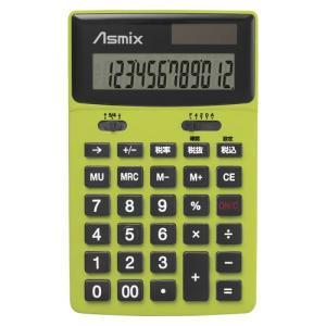 AC-00006653 アスカ 男電卓 カラー グリーン C1211G|l-nana
