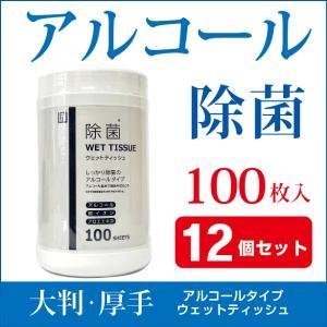 【12個セット】ウェットティッシュ アルコール 除菌 ボトル 100枚入 除菌シート 99.9% 除菌 AI-WILL製 厚手 ウイルス対策 拭き掃除 お徳用|l-w