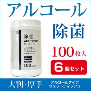 【6個セット】ウェットティッシュ アルコール 除菌 ボトル 100枚入 除菌シート AI-WILL製 大判 厚手 ウイルス対策 拭き掃除 お徳用|l-w