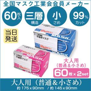 全国マスク工業会 不織布マスク 2箱 AI-WILL 普通サイズ&小さめ 2箱セット 白 2タイプ 60枚入 2箱 女性 子供 キッズ 3層構造 使い捨て 大量 あすつく|l-w