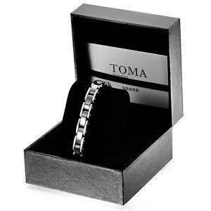 【訳あり】TOMA 12F 女性 黒セラミックス 磁気ブレスレット シルバー  保証書(ギャランティーカード)付き|l-w