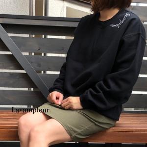 トレーナー レディース 長袖 ブラック 京都オリジナルブランド ロゴシルバー|la-ampleur
