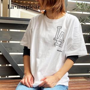 Tシャツ Lサイズ 男女兼用 半袖 ホワイト 京都オリジナルブランド ロゴBK la-ampleur