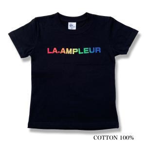 子供服 110サイズ 女の子 男の子 Tシャツ 半袖 普段着 子ども キッズ 男女兼用 ブラック  la-ampleur
