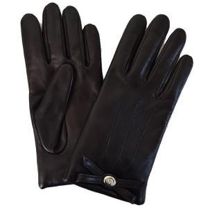 コーチ 手袋  メリノウール リボン レザー グローブ/F55189-BLK(8)|la-blossoms