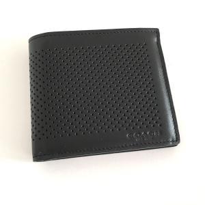 コーチ メンズ 財布/ダブル ビル パーフォレイテッド 二つ折りウォレット/F75278-BLK|la-blossoms
