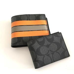 コーチ メンズ 財布/ シグネチャー ストライププリント レザー  IDケース付き二つ折りウォレット/F75426-ALO|la-blossoms