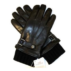 コーチ メンズ手袋 3イン1 グローブ  レザー ニットグローブ/F85859-IMBLK(XL)|la-blossoms