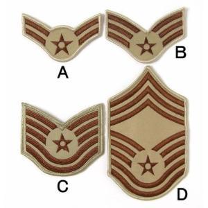 US.エアフォース階級章(カーキ)(新品、ミリタリーワッペン)