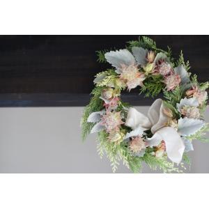 フレッシュヒバ sweety pink 「La femme」    花、ガーデニングリース  (44737)|la-classe-online