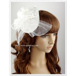 ビジュー付きブライダルハット(アビー)/ウェディング/帽子/ヘアアクセサリー/ヘッドドレス/結婚式/花嫁|labolero