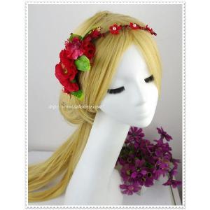 赤のシルクフラワー花冠風ヘッドドレス/ウェディング/帽子/ヘアアクセサリー/ブライダル/結婚式/花嫁|labolero