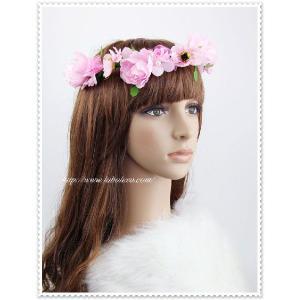 シルクフラワー花冠&リストレット(ピンク)/ウェディング/帽子/ヘアアクセサリー/ブライダル/結婚式/花嫁|labolero