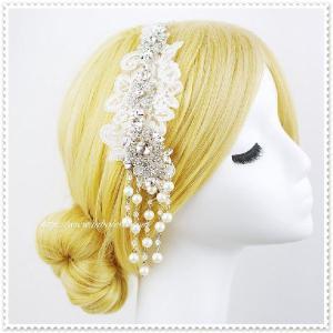 ゆらゆら揺れるビジューのヘッドドレス(ハンナ)/ウェディング/可愛い/ヘアアクセサリー/ブライダル/結婚式/花嫁/リボンカチューシャ|labolero