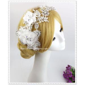 ビジュー付きフラワーヘッドドレス(エリサ)/ウェディング/花冠/ヘアアクセサリー/ブライダル/結婚式/花嫁/ハット帽子/可愛いゴージャス|labolero