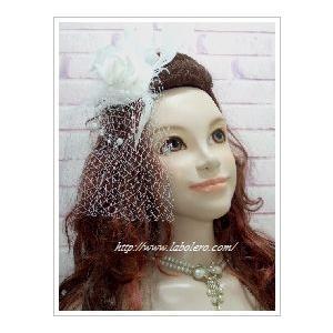 【ウェディングヘッドドレス】チュールがついたホワイトローズのヘッドドレス|labolero