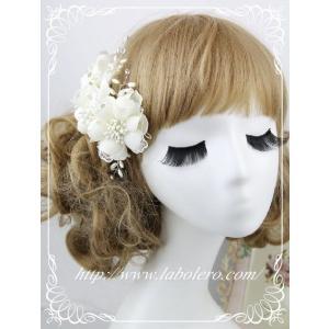 愛らしいお花のウェディングヘッドドレス(キャロル)/ウェディング/ブライダル/ヘアアクセサリー/結婚式/花嫁|labolero