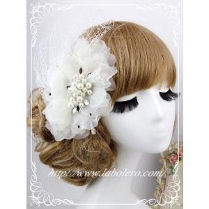 チュールとビジューのウェディングヘッドドレス(ルナ)/ウェディング/ブライダル/ヘアアクセサリー/結婚式/花嫁/リボンカチューシャ|labolero