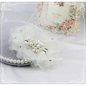 チュールとビジューのウェディングヘッドドレス(ルナ)/ウェディング/ブライダル/ヘアアクセサリー/結婚式/花嫁/リボンカチューシャ|labolero|04