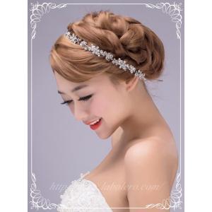 ビジューのリボンカチューシャ型ヘッドドレス(ビアンカ)/ウエディング/ブライダル/ヘアアクセサリー/花嫁/結婚式/花嫁|labolero
