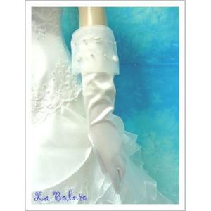 小花がキュートなミディアムグローブ/ウェディング用品/花嫁ブライダル小物|labolero