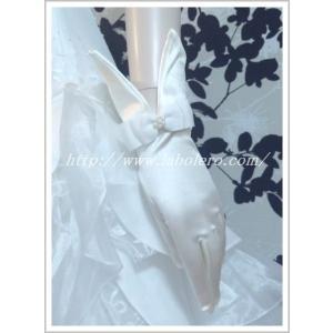 リボンにパールが光るショートグローブ/ウェディング用品/花嫁ブライダル小物|labolero