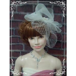 チュールがついたリボンのヘッドドレス(白・黒・赤)/ウェディング/ブライダル/ヘアアクセサリー/結婚式/花嫁|labolero