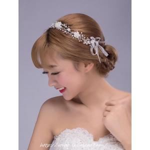 ビジューのリボンカチューシャ型ヘッドドレス(アナ)/ウェディングリボンカチューシャ/ブライダル/ヘアアクセサリー/花嫁/結婚式/花嫁|labolero