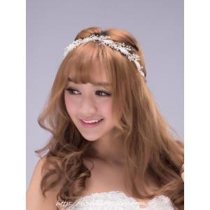 ビジューのリボンカチューシャ型ヘッドドレス(ナディア)/ウェディングリボンカチューシャ/ブライダル/ヘアアクセサリー/花嫁/結婚式/花嫁|labolero
