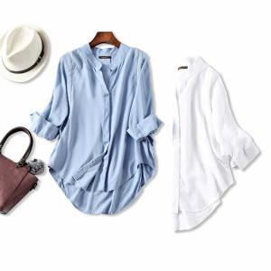 シャツ レディース 半袖 リネンシャツ トップス 大きいサイズ 無地 白 黒 シャツ ブラウス フォ...